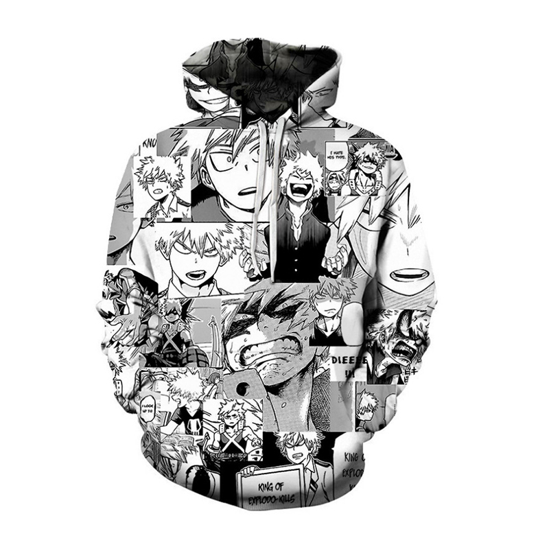 Anime Bakugou Katsuki Cosplay Costume 2020 My Hero Academia Hoodie Thin 3D Printed Pullover Sportswear Tops