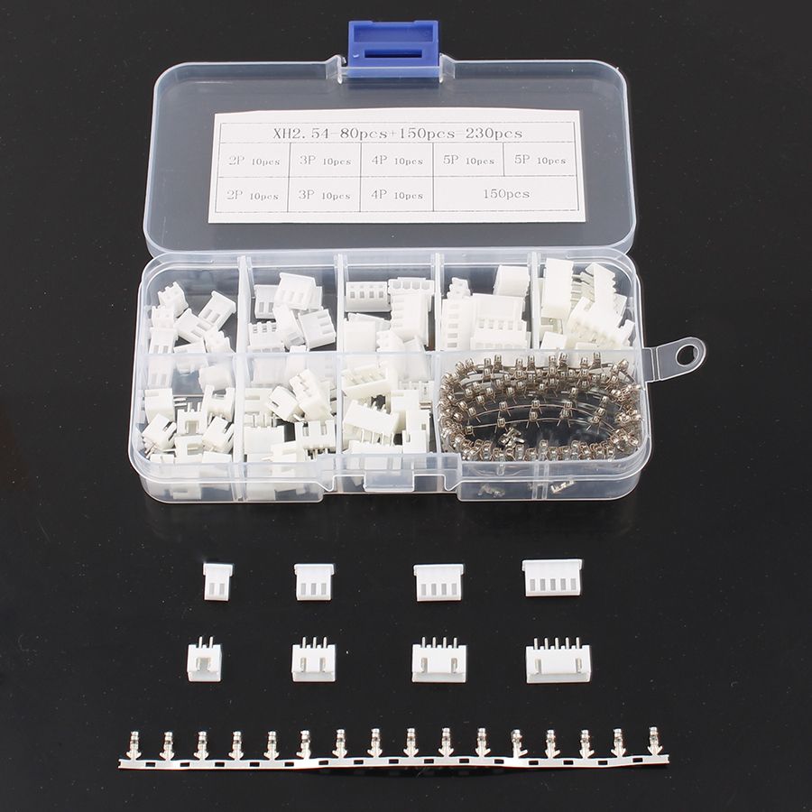 230PCS 2p  4p 5 pin 2.54mm  Terminal Kit//Housing//Pin Header  Connector