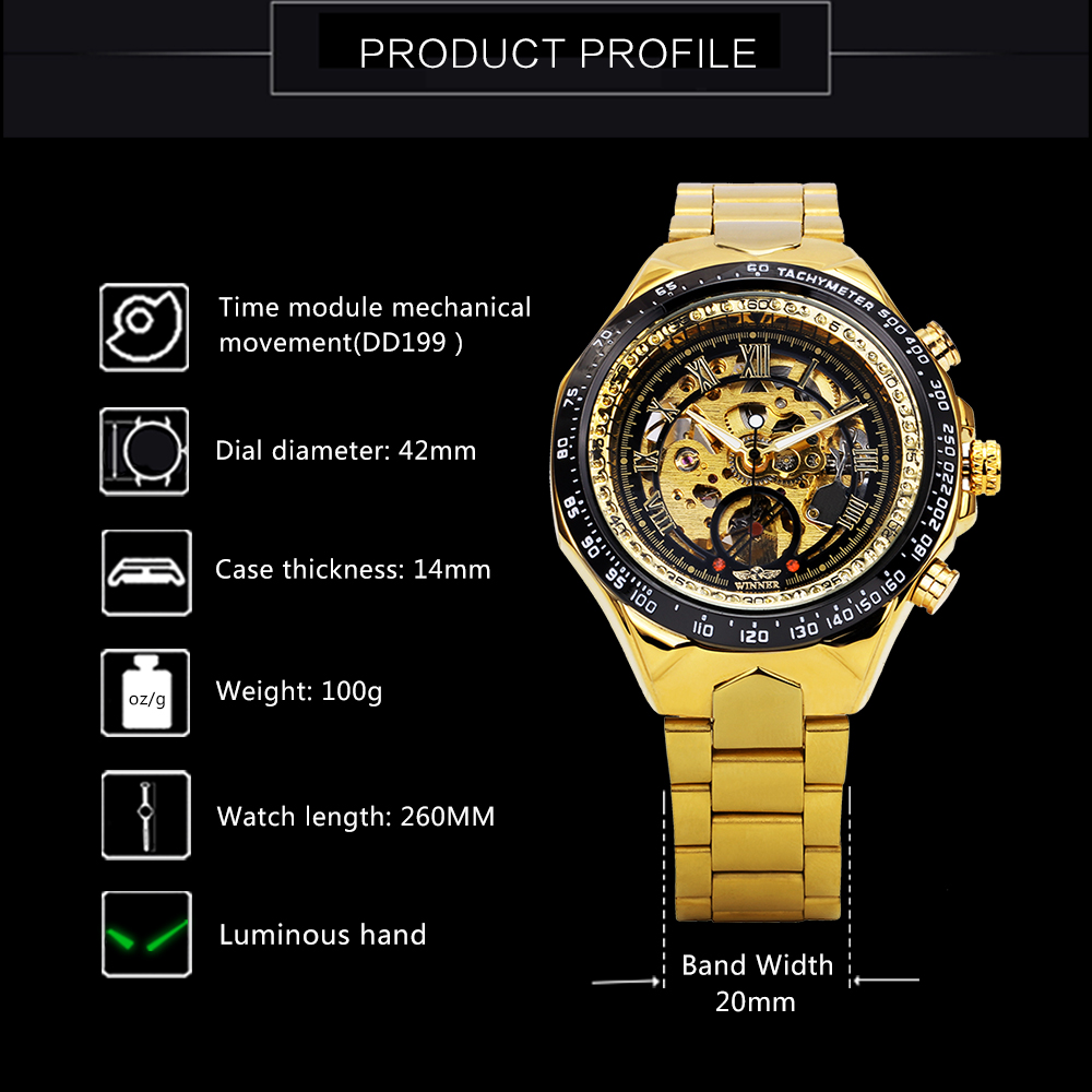 Image 3 - WINNER Official Vintage Fashion Men Mechanical Watches Metal Strap Top Brand Luxury Best Selling Vintage Retro Wristwatches +BOXMechanical Watches   -