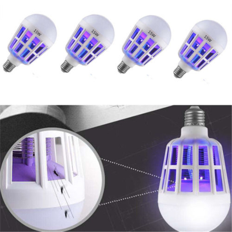 2 In 1 E27 LED Bulb With Mosquito Killer Lamp Odorless Electric Fly Bug Insect Zapper Killer Trap Lamp 220V 15W Night Lamps