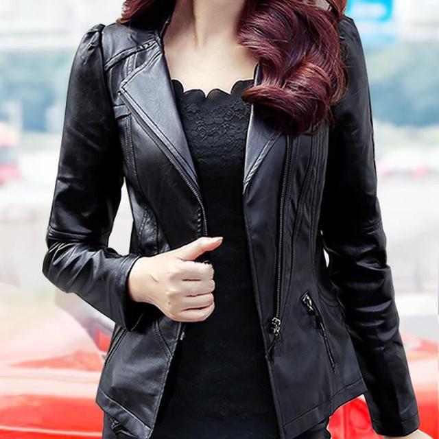 5Xl Plus Size Women Pu Leather Jacket Casual Slim Soft Moto Biker Faux Leather Jacket Female Coat Basic Streetwear