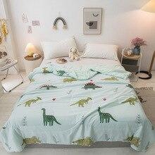 Cartoon Kids Summer Cool Quilt Dinosaur Baby Quilts Sleeping Thin Conditioning Quilt Summer Washable Bedspread Duvet Sleep Quilt