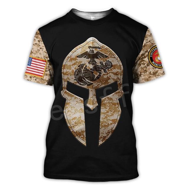 Tessffel America Marine Camo Skull Soldier Army NewFashion Casual 3DPrint Unisex Summer Funny T-Shirt Short Sleeve Men/Women B-2 3