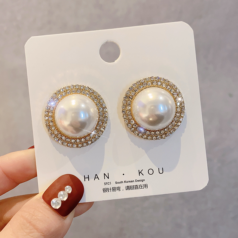 Gold&Silver Color Round Imitation Pearls Stud Earrings for Woman Luxury Crystal Earrings Female Beads Stud Earring