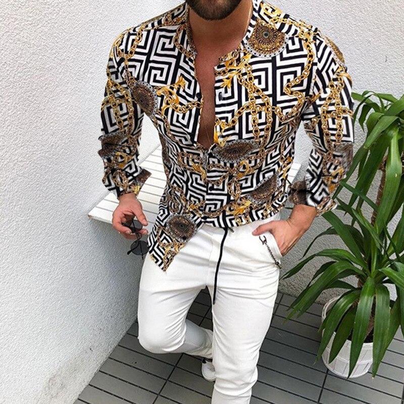 2021 Summer Men Printing Long-sleeve Shirt Slim Top  Party Shirts Male Dress Shirt Men Clothes