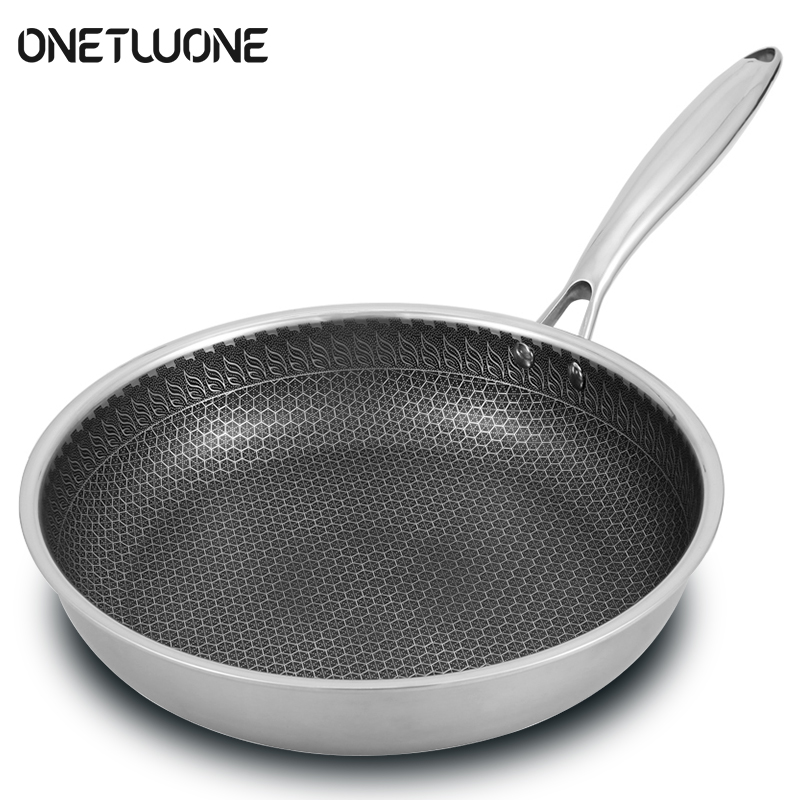 Non-stick Pan 304 Stainless Steel Pan Omelette Steak Frying Pancake Pan Induction Cooker Gas Stove Universal