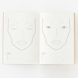 Image 2 - A4 Facechart נייר איפור נייד מקצועי איפור אמן עיסוק תבנית איפור ציור ספר