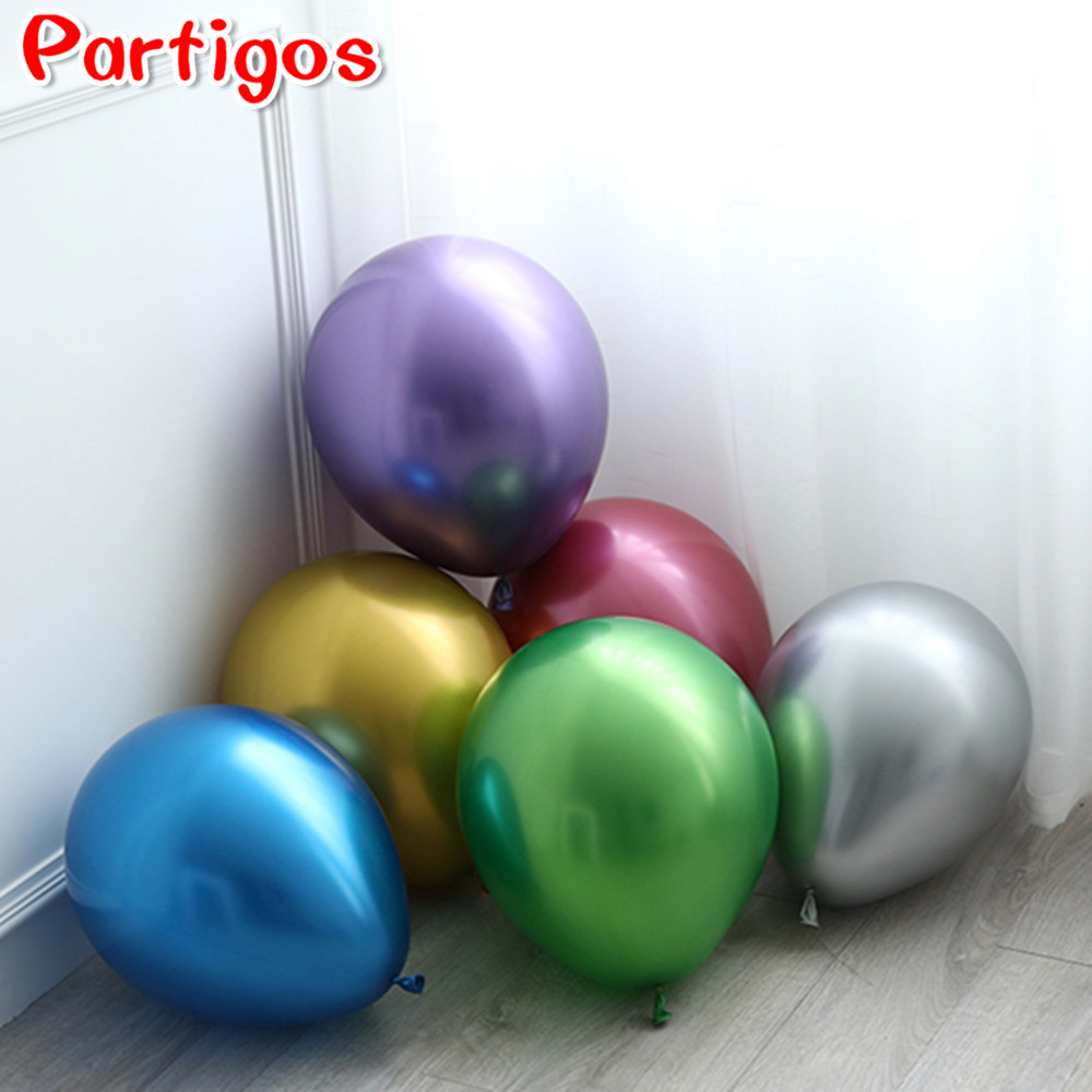 5/<font><b>10</b></font>/12/18inch Metallic Balloon Metall Chorme Balloons Latex Big round helium balloon Wedding <font><b>Birthday</b></font> Party <font><b>Decorations</b></font> image