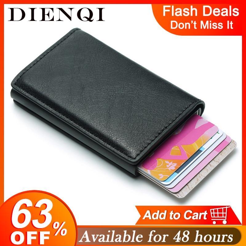 DIENQI Rfid Card Holder Men Wallets Money Bag Male Vintage Black Short Purse 2020 Small Leather Slim Wallets Mini Wallets Thin(China)