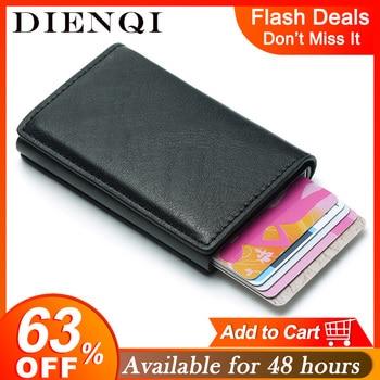 DIENQI Rfid Card Holder Men Wallets Money Bag Male Vintage Black Short Purse 2020 Small Leather Slim Wallets Mini Wallets Thin short men wallets 100