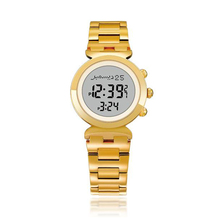 Adhan Watch for Muslim Women Islam Lady Clock in Gold Color Al Harameen Fajr Time Wristwatch with Qiblah Compass Azan Time Alarm