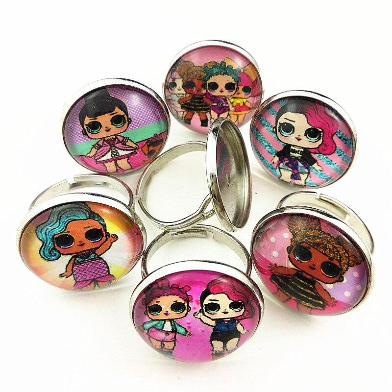 24 шт новые стили мультфильм кукла красочные бусы стеклянные браслеты ожерелье брелок кольцо серьги ювелирные изделия серии для девочек - Окраска металла: Покрытие антикварной бронзой