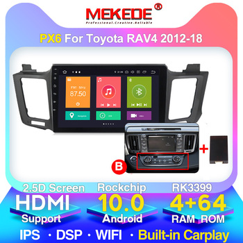 PX6 For Toyota RAV4 RAV 4 2013-2016 2017 2018 2019 Car Radio Multimedia Video Player GPS No 2 Din Android 10 4GB+64GB image