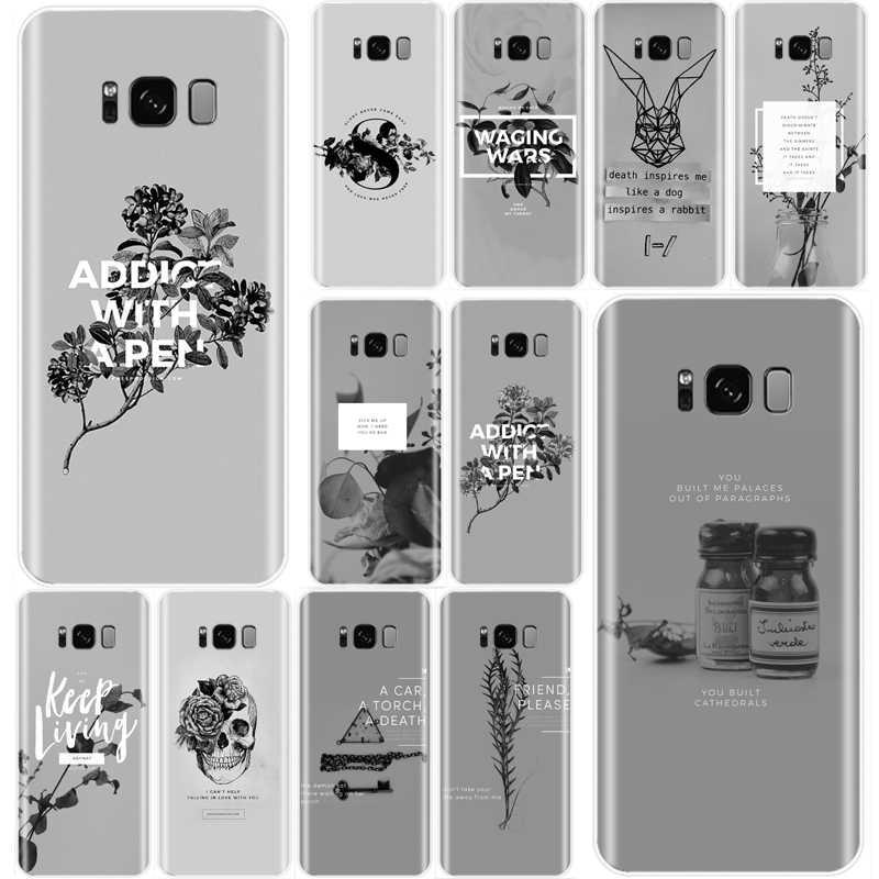 Màu xám tối giản Bao Da Silicone Mềm TPU Ốp Lưng Điện thoại Samsung Galaxy NOTE 8 9 S7EDGE S6 S7 S8 S9 S10 PLUS S10lite