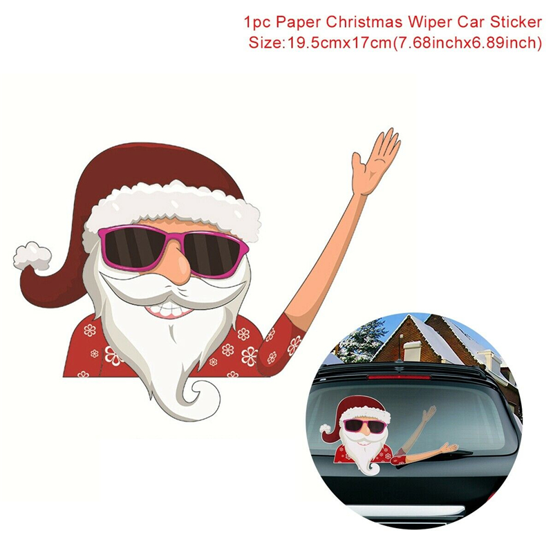 Image 5 - 2019 New Car Accessories Christmas Auto Decorations DIY Car Sticker Windshield Santa Claus Cute Window Decals Car Wiper Sticker-in Car Stickers from Automobiles & Motorcycles