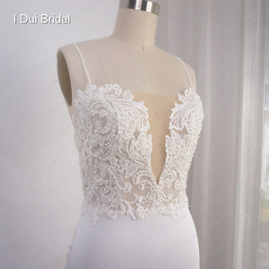 Image 3 - Spaghetti Strap Sheath Wedding Dress Lace Appliqued Pearl Beaded Low Back Crepe Bridal Gown Hilary Duffs Wedding Dress Material