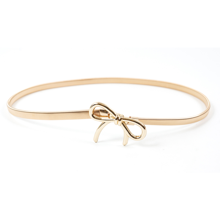 H61d17991070c4edab90674b4b95e701fB - Metal Belts for Women Designer Brand Women Skinny Bow knot Belt Female Gold Silver Color Waist Chain Elastic Thin Cummerbunds