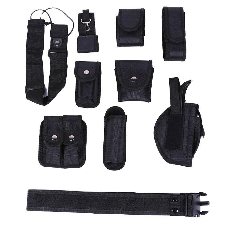 Exército Tático Cinto Polices Guarda Utilitário Kits Definir Algemas Multifunções 10 Bolsas Case Lanterna Clipe Cintura Arma Coldre Homem