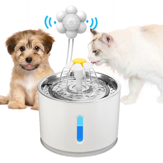 Automatic Cat Water Fountain Pet Dog Drinking Bowl With Infrared Motion Sensor Water Dispenser Feeder LED Lighting Power Adapter 1