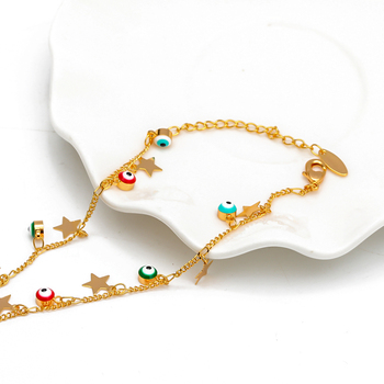 EVIL EYE Star Charm Anklet Bracelet Gold Color Foot Chain Adjustable Turkish Eye Ankle Fashion Jewelry for Women Female EY6502 2