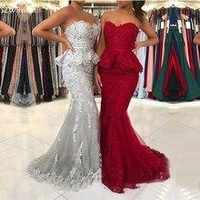 新着ブルゴーニュマーメイドイブニングドレス 2020 レースアップリケパーティードレスイブニング vestidos elegantes ローブフェムセクシー