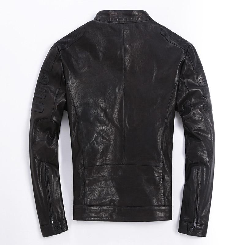 YOULANFAIRY 100%Real Goatskin Leather Jacket Spring Autumn Short Slim Motocycle Bomber Jacket Casaca De Cuero LG0004 MF142
