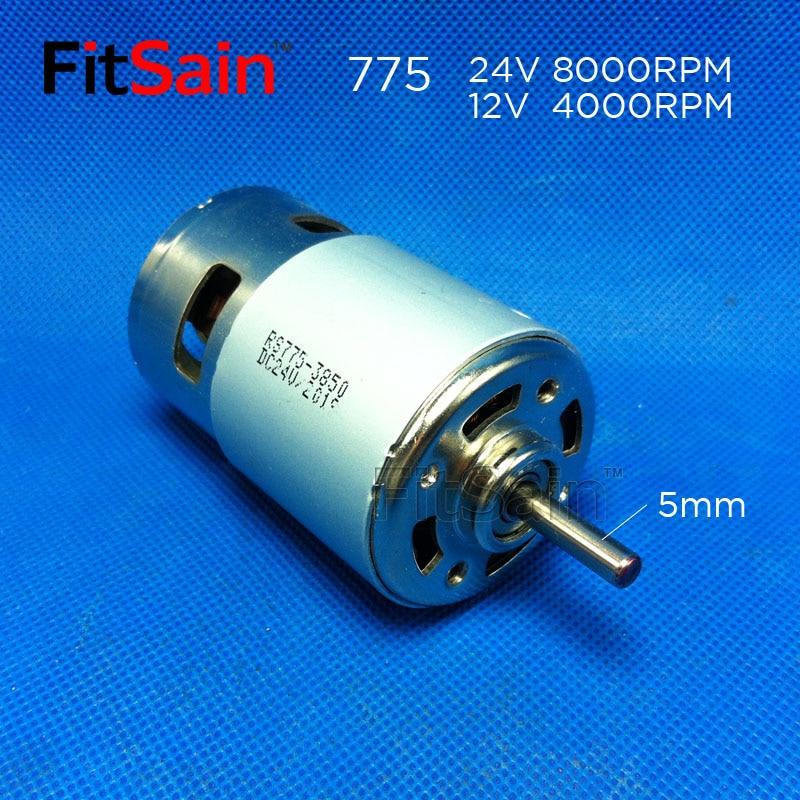 FitSain - DC 24V 8000rpm 775 albero motore 5mm Coppia elevata ad alta potenza Doppio cuscinetto a sfera Utensile elettrico