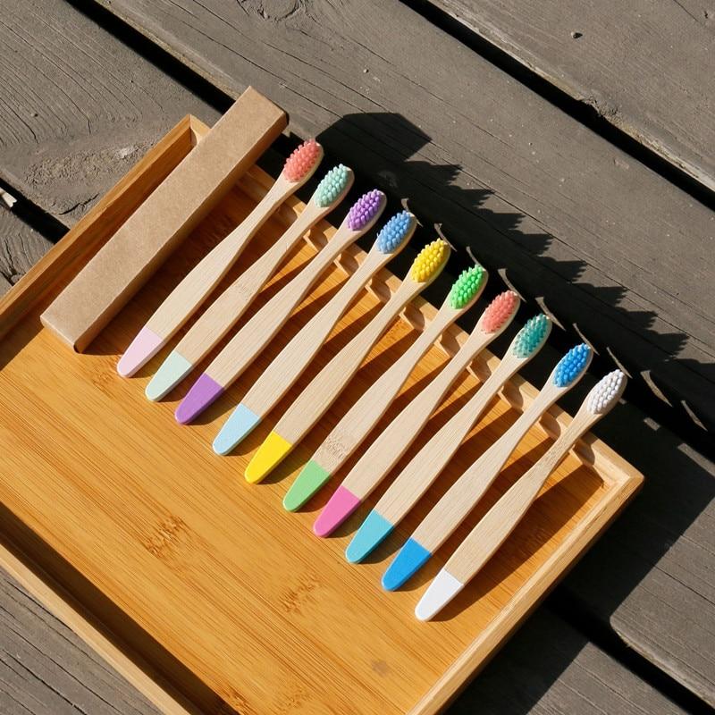 Детская бамбуковая зубная щетка, Экологичная деревянная бамбуковая щетка, мягкая щетина, угольная зубная щетка для ухода за полостью рта, д...