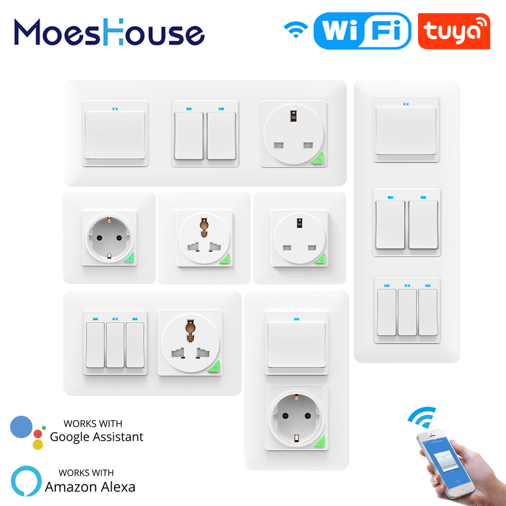 WiFi Smart Light Wall Switch Socket Outlet Push Button DE EU Smart Life Tuya Wireless Remote Control Work with Alexa Google Home 1
