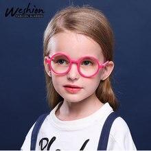 Очки для студентов с синим светом, круглые прозрачные оптические линзы, очки по рецепту, доступны для детей 3-10 лет