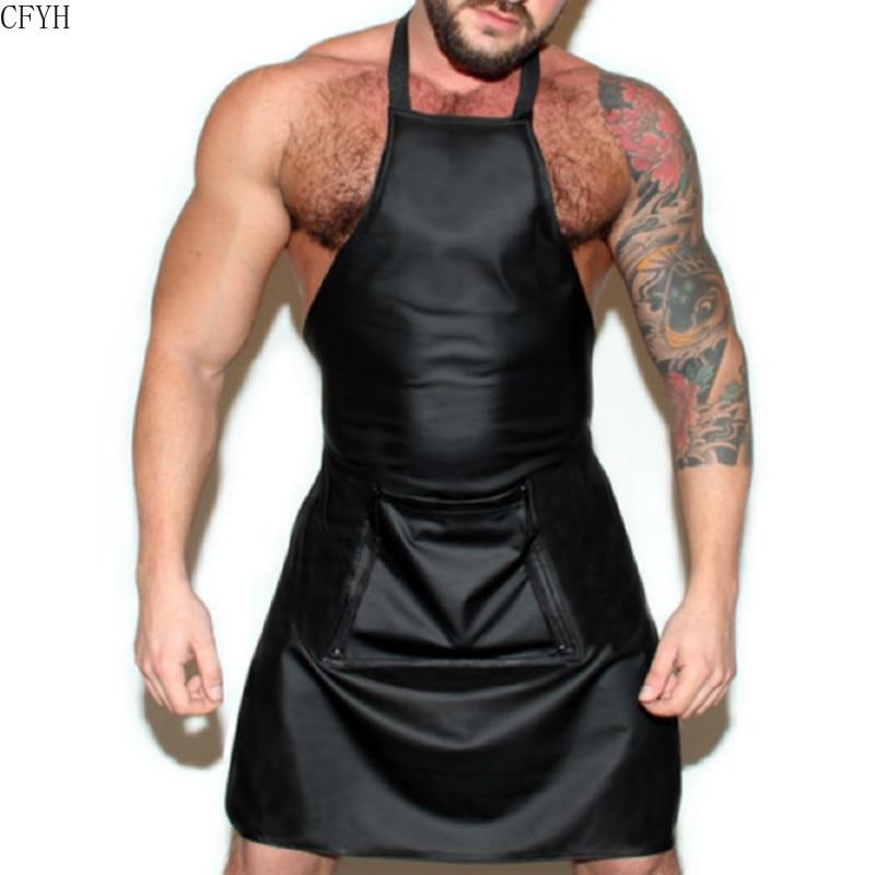 Сексуальное мужское нижнее белье для мужчин, женский кожаный костюм, женский комбинезон, фартук, чулки для косплея, Сексуальная Клубная оде...