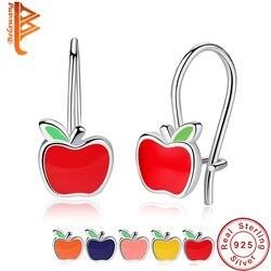 BELAWANG женские модные милые красные эмалированные серьги-гвоздики с яблоком, женские 925 пробы серебряные серьги для девочек