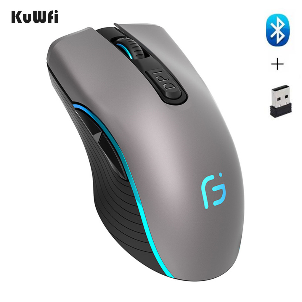KuWFi Computer Mouse Bluetooth 4.0+ 2.4Ghz Wireless Dual Mode 2 In 1 Mouse 2400DPI Ergonomic Portable Optical Mice For PC/Laptop
