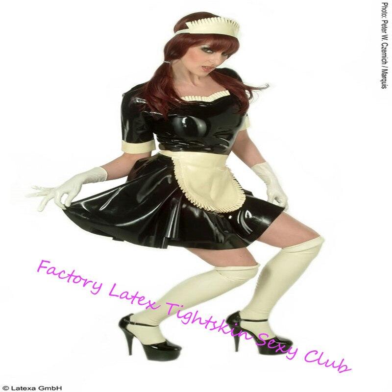 Sexy Latex uniforme en caoutchouc femme de chambre Cosplay Costumes avec gants et chaussettes pour tenue de club halloween cosplay costumes pour femmes sexy