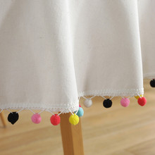 Colorful Ball White Tablecloth Pure Color Korean Decorative Table Cloth Round Cotton Linen Kitchen Party Table Cover