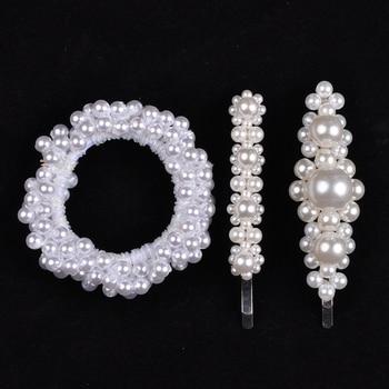 14 Colors Woman Elegant Pearl Hair Ties Beads Girls Scrunchies Rubber Bands Ponytail Holders Hair Accessories Elastic Hair Band 21