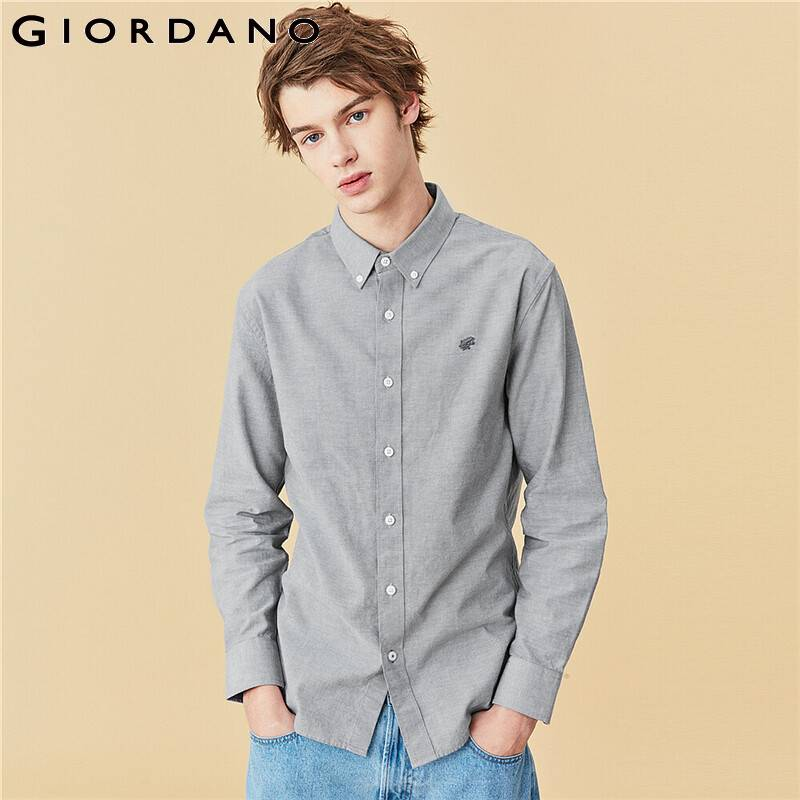 Giordano Men Shirts Frog Embroidered Oxford Slim Shirt Men 100% Cotton Classic Turn Down Collar Camisa Masculina 01040478