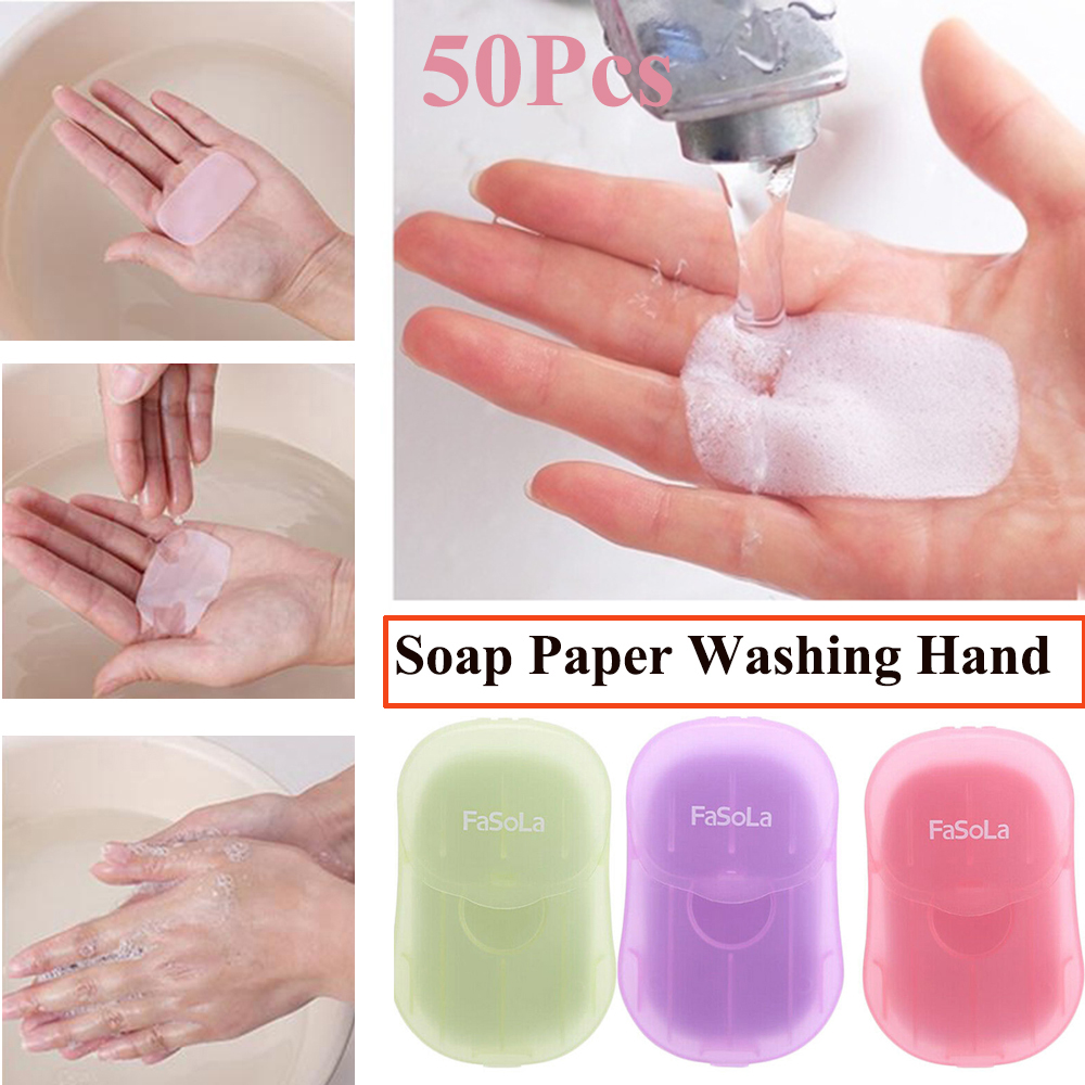 50 PCS Travel Portable Washing Hand Bath Soap Paper Scented Slice Sheets Disposable Mini Soap Sheets Foaming Soap Case
