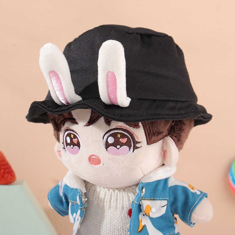 무료 배송 20cm 아기 인형 액세서리 토끼 귀 어부 모자 Boonie 양동이 모자 Kpop EXO 인형 봉제 인형 '모자