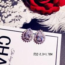 Water Drop Big Bling Zircon Stone 925 Sterling Silver Color Cute Stud Earrings for Women Fashion Party Jewelry Korean Earrings big bling square zircon stone silver stud earrings for women korean earrings fashion jewelry 925 silver