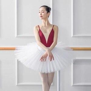 Image 2 - Professional Ballet Swan Lake Tutu White Black Elastic Waist Adults Ballerina 5 Layers Hard Mesh Tulle Skirt Tutus With Briefs