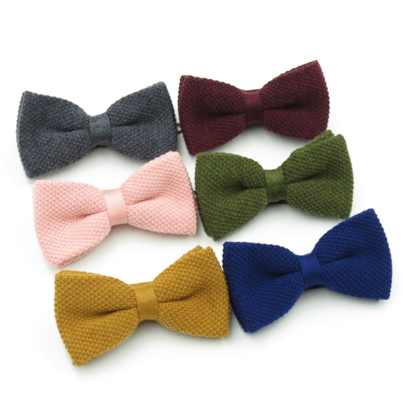 Men's British Retro Style Fashion Bowtie Knitting Wool Bow Tie Double Layer Monochrome Thick Bowties