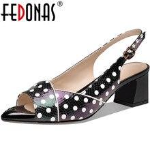 Open-Toed-Shoes Pumps Genuine-Leather Buckle Wedding FEDONAS High-Heels Fashion Women