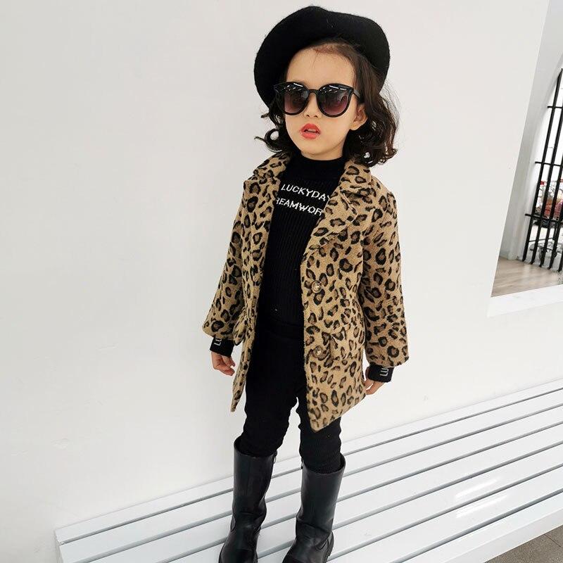 Kids Coat 2021 Autumn Baby Girls Long Sleeve Leopard Fur Windproof Infant Boys Clothes Girl Warm Pocket Fashion Outwear Jacket 5