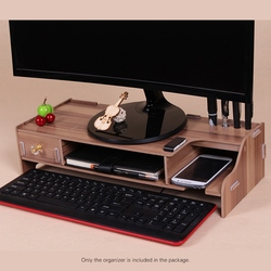 Wooden Monitor Stand Riser Computer Desk Organizer with Keyboard Mouse Storage Slots for Office Supplies School Computer Heighte