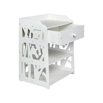 Storage Shelf Locker Wooden Bed Side End Table Nightstand Bedroom Drawer & Bottom White[US-W]