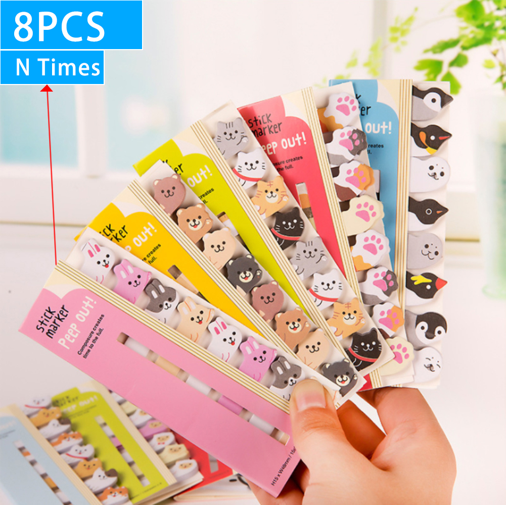 8pcs Lovely Kawaii Cartoon Animals Cute Japanese And Korean Stationery Row Animal Bookmarks Note Paper Office Student Supplies
