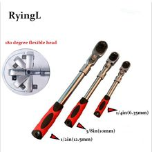 """72 Teeth Torque Ratchet Wrench 1/2"""" 3/8"""" 1/4"""" Allen Key Length Telescopic Socket Wrench For Auto Car Repair Tool"""
