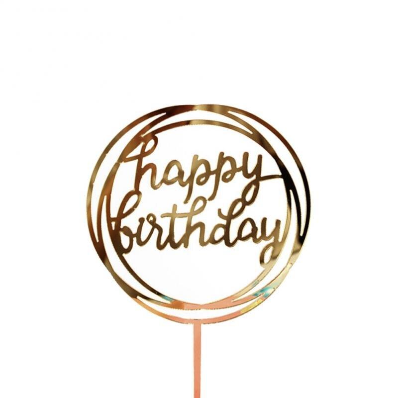 1 шт. Золотой акриловый Топпер для торта «С Днем Рождения», десерт с горячей штамповкой, вечерние украшения для дня рождения, вечерние подарк...