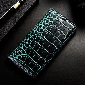 Image 5 - Crocodile Genuine Leather Flip Phone Case For Huawei Y5 Y6 Y7 Y9 Prime 2019 Y9 2018 Cover For Huawei Y5 Y6 Pro 2017 Coque Funda